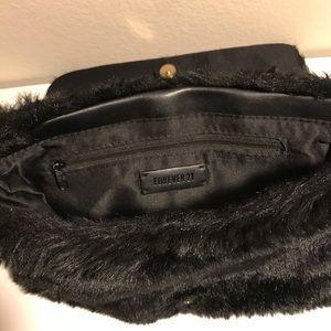Fuzzy Black Forever 21 Clutch